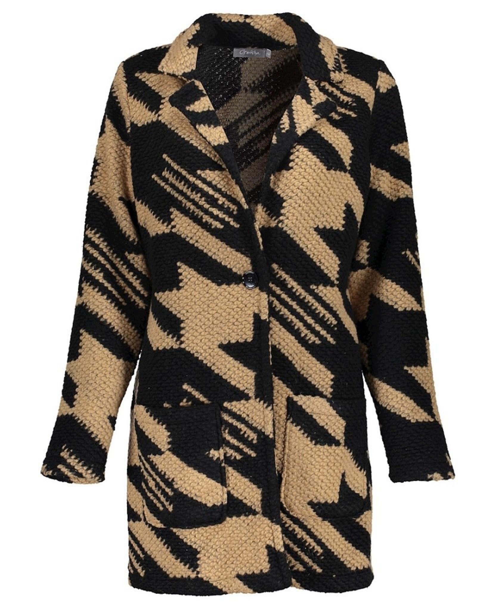 Geisha vest camel black 14588