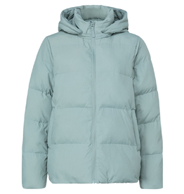 YAYA Short Puffer jacket hoodie greyish green milieu