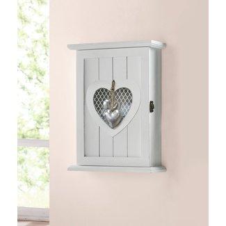 Home & Deco Sleutelkastje wit met zilveren hart