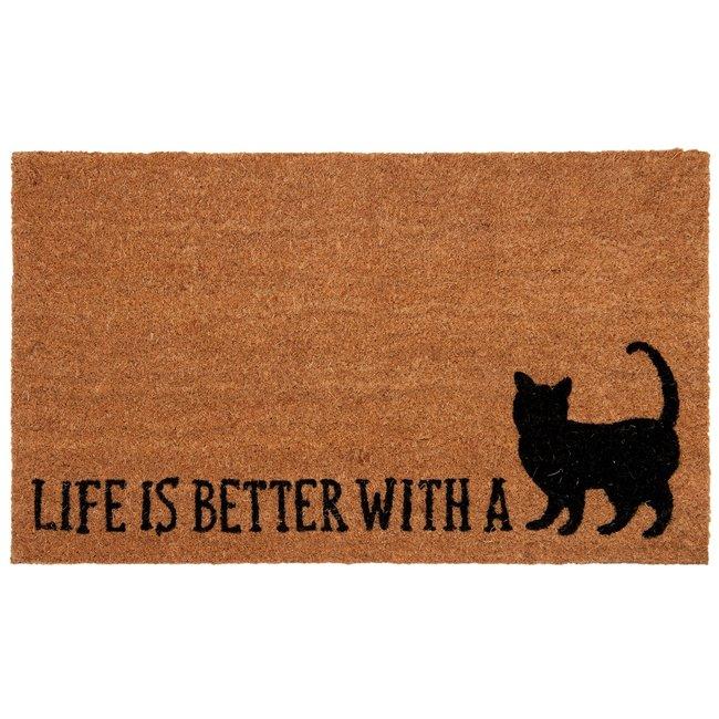 Clayre en Eef Kokos deurmat Life is better with A cat