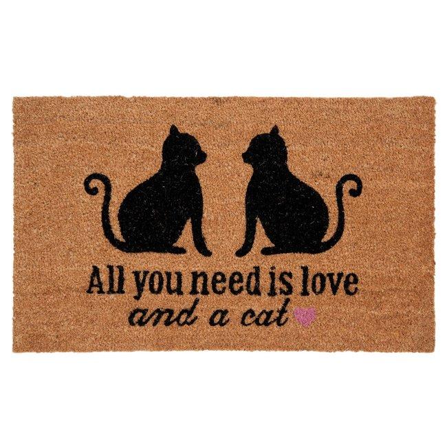 Clayre en Eef Kokos deurmat All you Need Is Love 75x45 cm