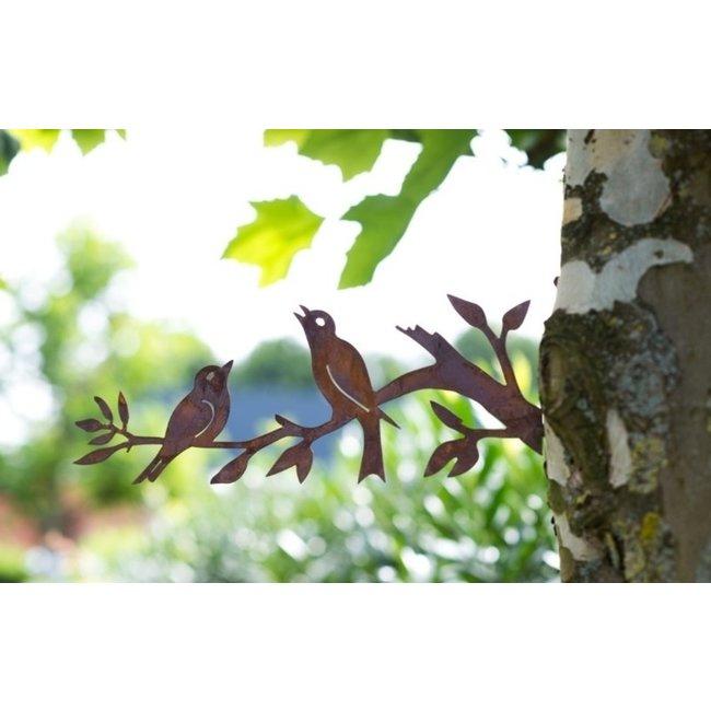 Buiten decoratie vogels op tak 40 x 15 cm