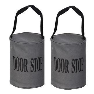 Esschert Design Set van 2 deurstoppers grijs met zwarte band.