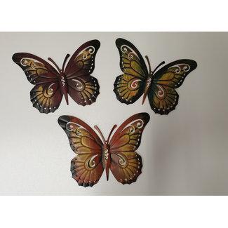 Home & Deco Vlinder wandhangers set van 3 stuks