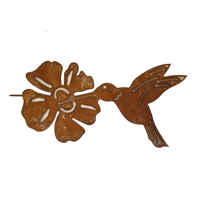 Buiten decoratie Kolibrie met bloem