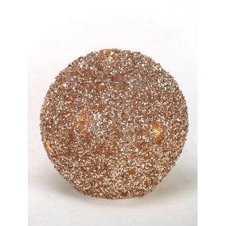 Mansion Staande glitter led bal in koper-zilver kleur 15 cm