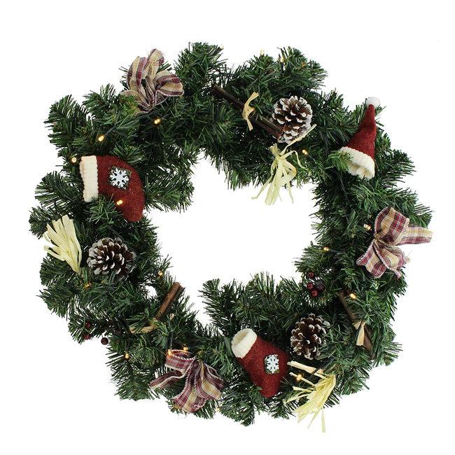 Home & Deco Decoratie kerstkrans  45 cm  met warme LED verlichting