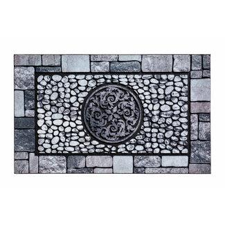 Hamat Rubberen Deurmat Ornament Tegels 45x75cm