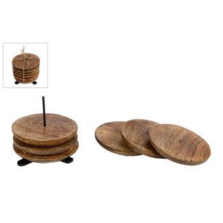 Onderzetters met houder - Mangohout 6 stuks