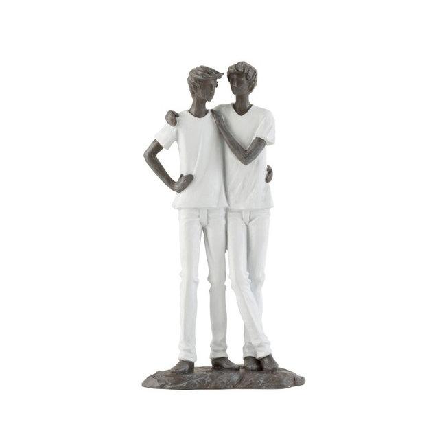 Decoratiebeeld - Koppel Mannen - 26cm