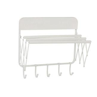 Wit Metalen Kapstok met 5 haken + Handdoekdrager