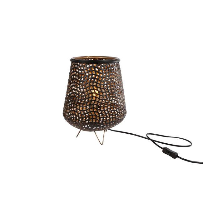 Home & Deco Staande lamp Lexa zwart en goud S 30 cm