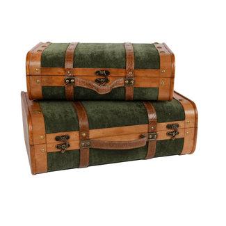 Home & Deco koffer set van 2 stuks groen