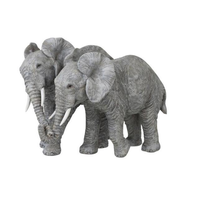 Decoratie beeld van een koppel olifanten - grijs-bruin