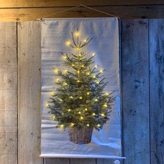 Kerstboom op canvas doek inclusief verlichting (65x107 cm)