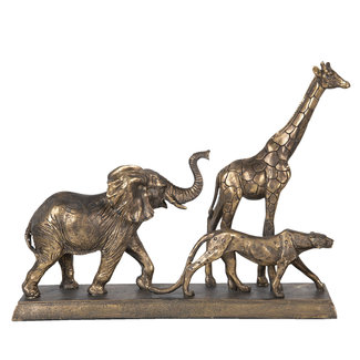 Clayre & Eef Decoratie wilde dieren goud