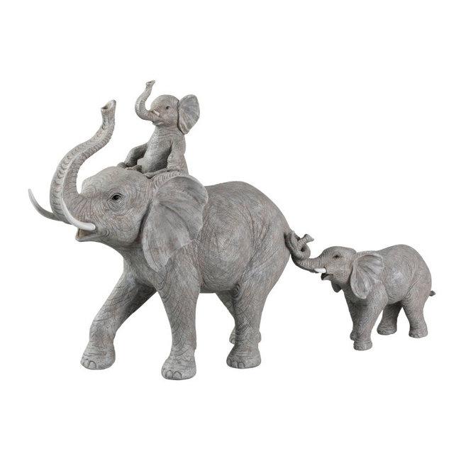 Olifantjes decoratiebeeld grijs