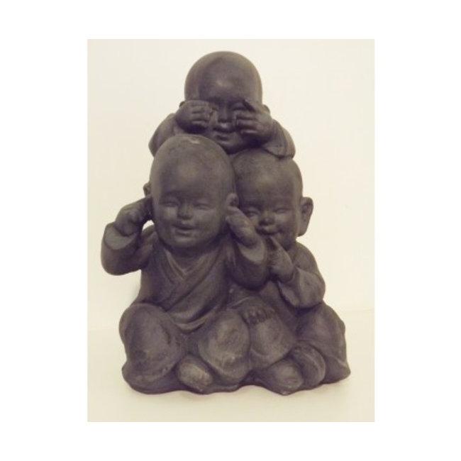 Kindmonnik beeld horen zien zwijgen donkergrijs 27 x 36 cm