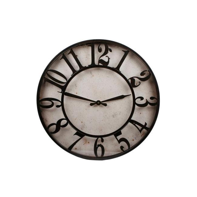 Home & Deco Klok Jeremy 60 x 6 cm staal beige/zwart