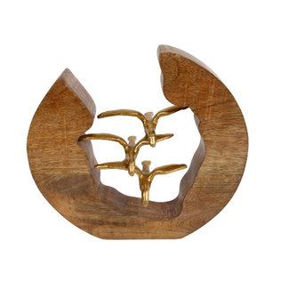 Home & Deco Decoratief beeld mango hout - metaal Flying Birds