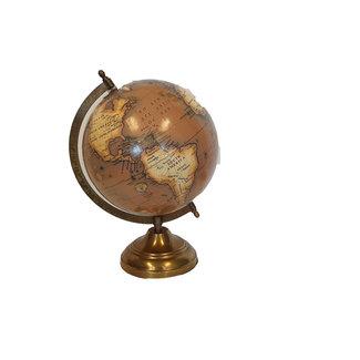 Wereldbol op voet 20 cm Bruin/Staal