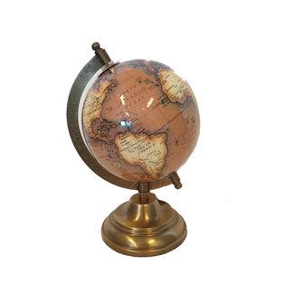 Home & Deco Wereldbol op voet 12 cm Bruin/Staal