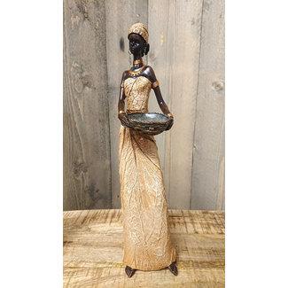 Home & Deco Decoratiebeeld - Afrikaans vrouw met schaal - 38,5cm