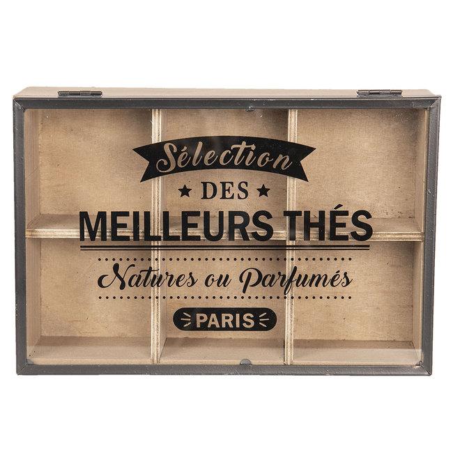 """Clayre en Eef Clayre & Eef houten 6-vaks theedoos """"Sélection des meilleurs thés"""