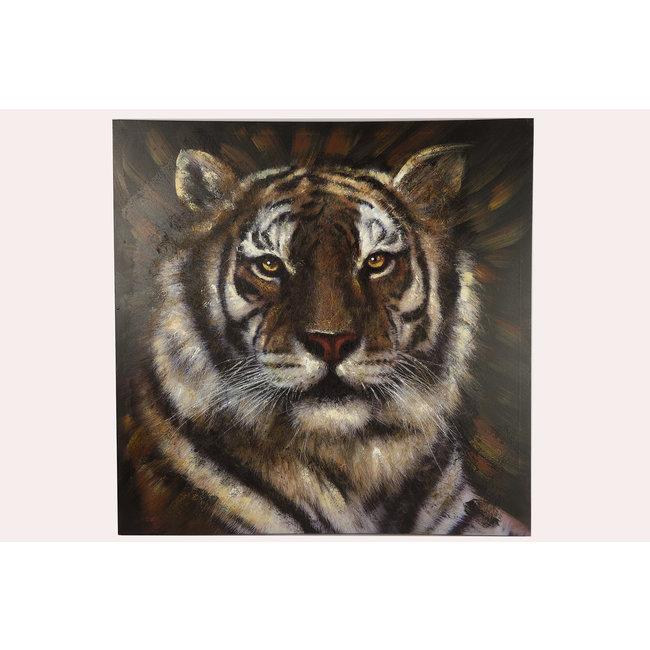 Groot vierkant schilderij tijger bruin vooraanzicht 80x80 cm