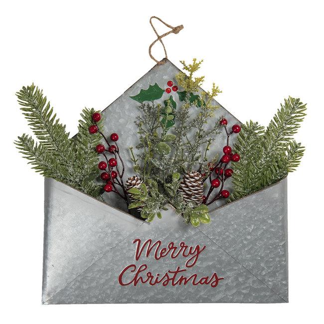 Clayre en Eef Metalen enveloppe met de tekst Merry Christmas
