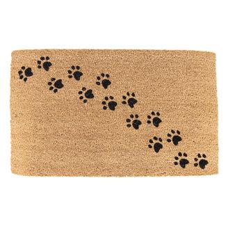 Clayre en Eef Kokos deurmat met hondenpootjes 75x45cm