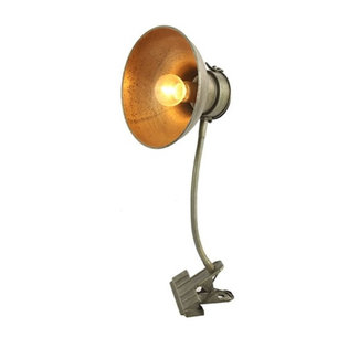 Home & Deco Klemlamp grijs met LED-timer