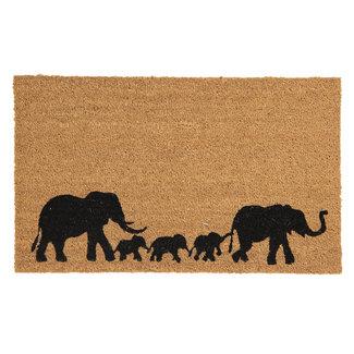 Clayre en Eef Kokos deurmat met olifanten familie 75x45cm