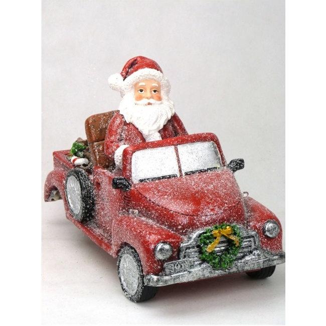 Home & Deco Kerstman in rode oldtimer met led verlichting