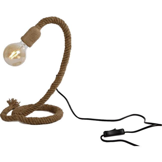 Tafellamp fitting aan touw - natuurlijk materiaal - 18x18x35cm