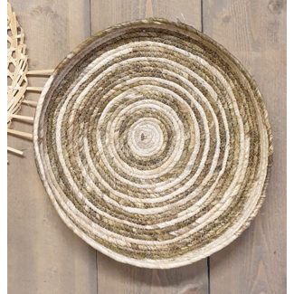 Riet wanddecoratie basket- mand 62x60x6cm