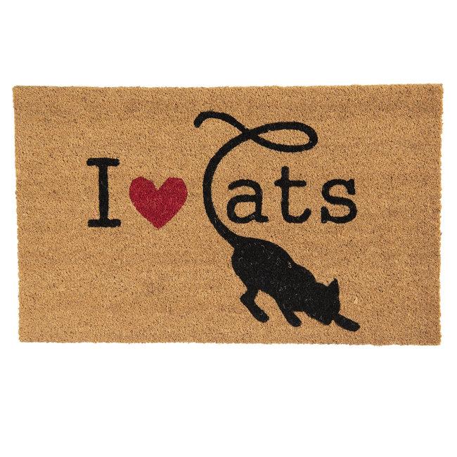 Clayre en Eef Kokos deurmat I ❤ Cats 75 x 45 cm