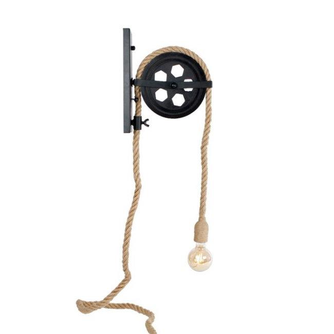 Home & Deco Wandlamp katrol met verstelbaar touw 350 cm