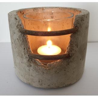 Stoer windlicht S beton met metaal