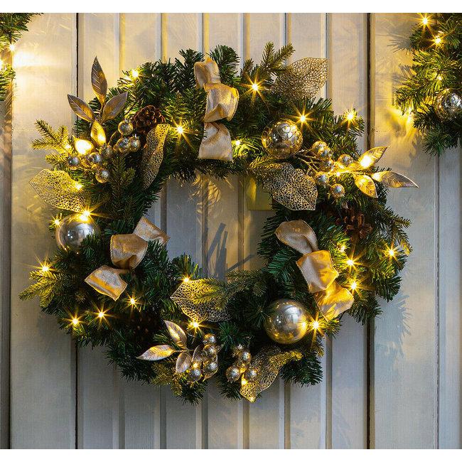 Home & Deco Decoratie kerstkrans champagne 60 cm met warme LED verlichting