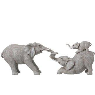 Jolipa Decoratiebeeld spelende olifanten - 73 cm