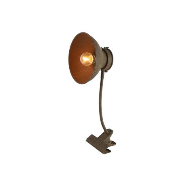 Home & Deco Klemlamp roest met LED timer
