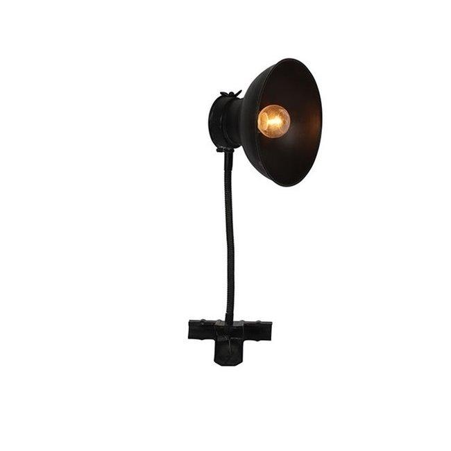 Home & Deco Klemlamp zwart met LED-timer