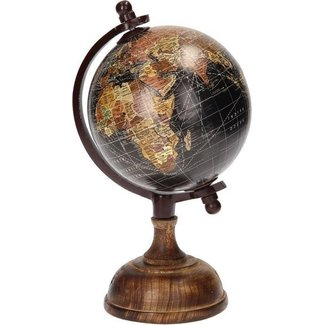Home & Deco Wereldbol op voet hout/zwart 20cm