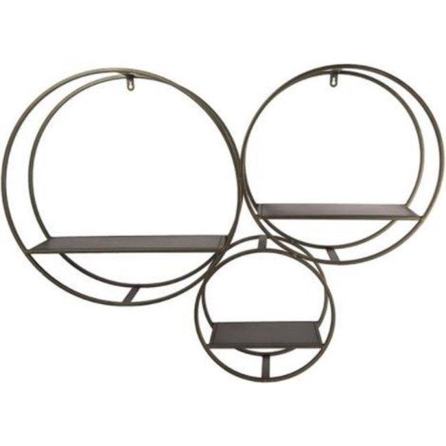 Home & Deco Koperkleurig metalen wandrek cirkels