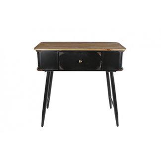 Home & Deco Sidetable met lade zwart metaal / hout