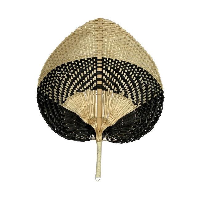 Bali-Dreams Bamboo Waaier Blok Zwart/naturel 40cm