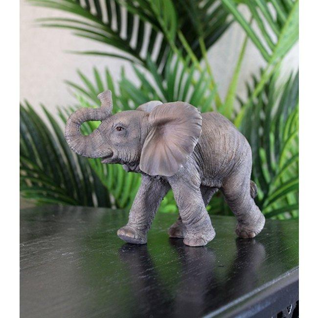 Home & Deco Olifanten beeldje grijs - 13 cm