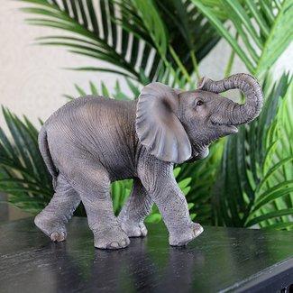 Home & Deco Olifanten beeldje grijs - 16 cm