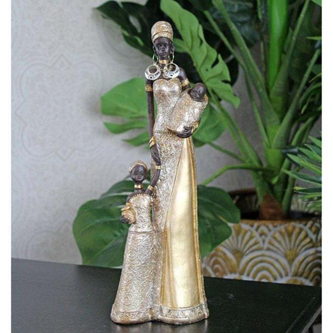 Home & Deco Beeldje Afrikaanse familie goud